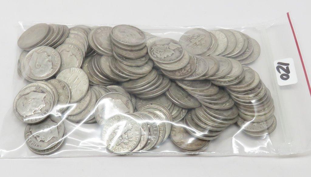 Roosevelt Dimes 119 Silver + 8 Mercury  (Average Circulated)