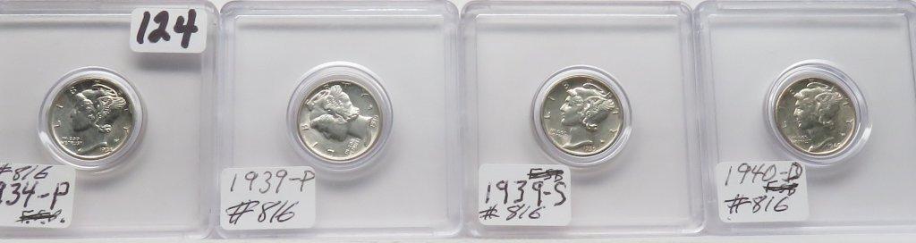 4 Mercury Dimes AU: 1934, 1939PS, 1940D
