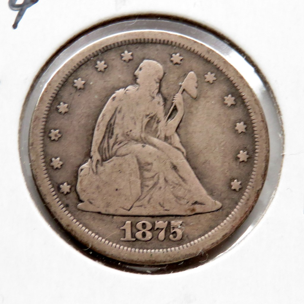 Seated Liberty 20 cent piece Good (Cleaned)