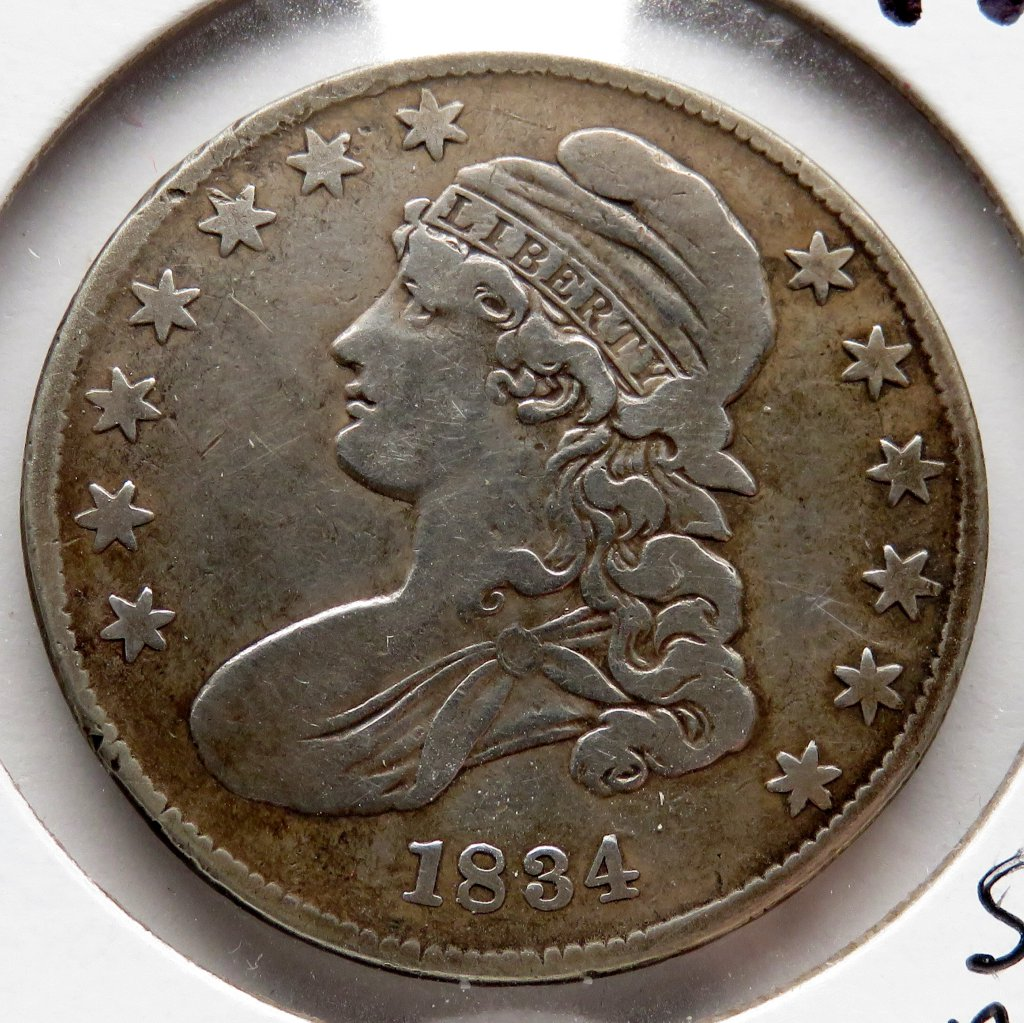 Half $ Capped Bust 1834 Fine (Small date stars & letters)