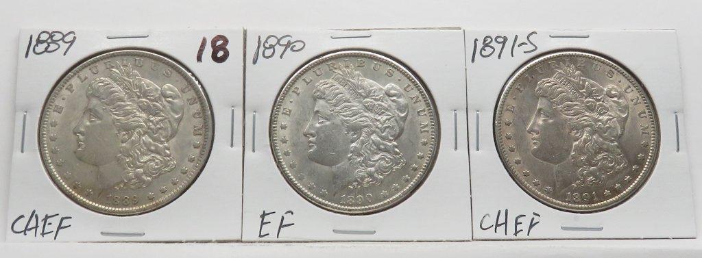 3 Morgan $, 1889 CH EF; 1890 EF; 1891-S CH EF