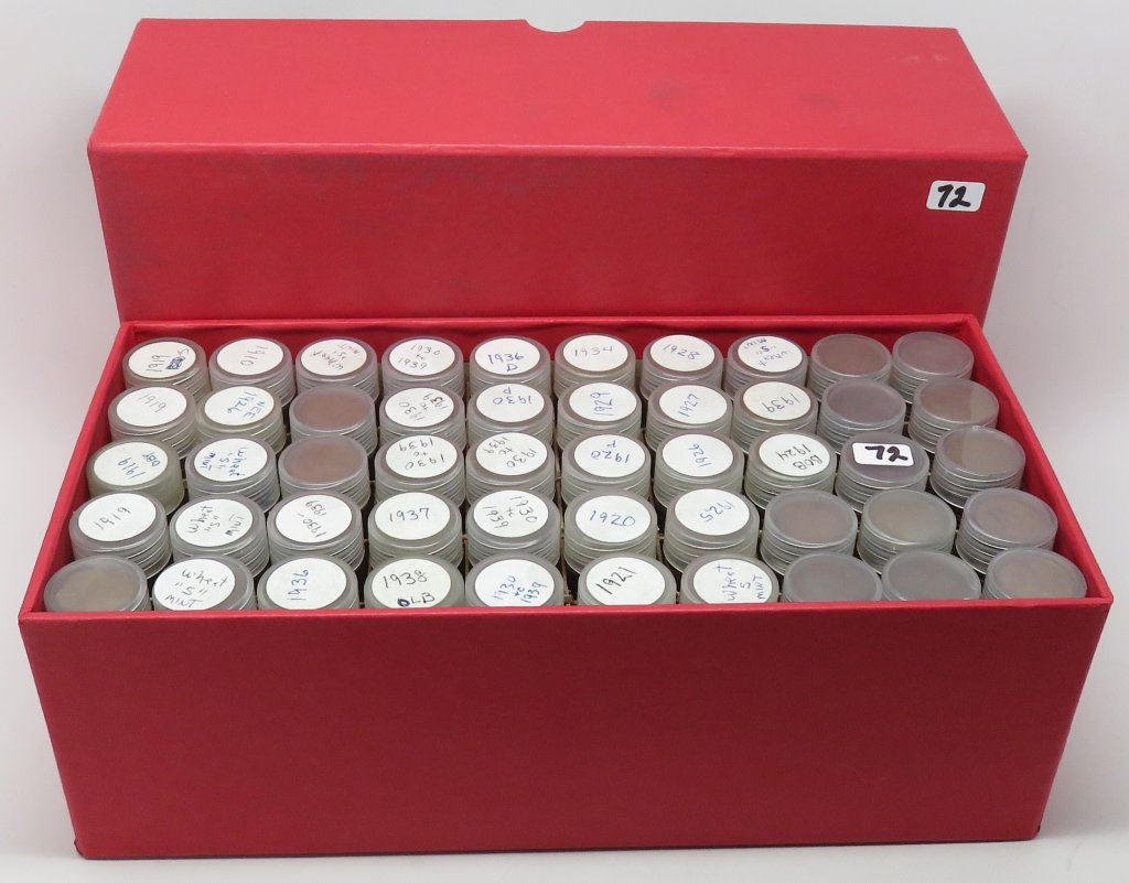 Box of 50 Tubes Lincoln Cents, mixed dates. Unsearched by us, appear to be all Wheat. Estimated tota