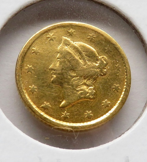 1852 Gold $ Liberty Head Fine plugged