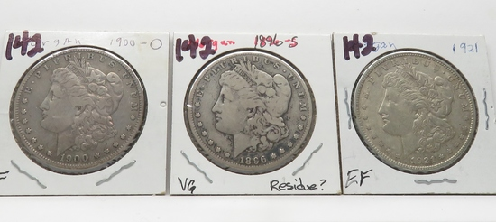 3 Morgan $: 1900-O F, 1896S VG ?cleaned, 1921 EF