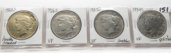 4 Peace $: 1922S harshly cleaned, 1926S VF, 1927D VF scrs, 1934S VF polished