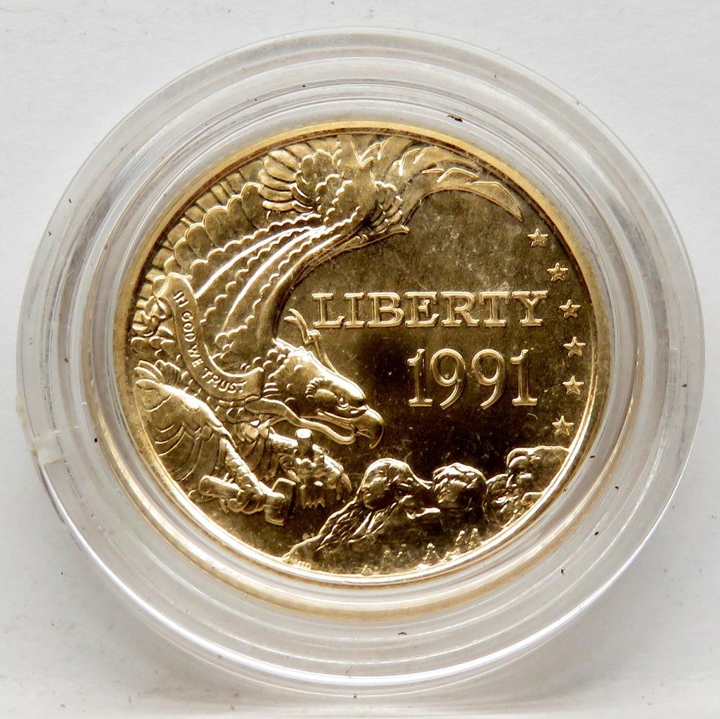 1991W Mt Rushmore Commemorative Gold $5 Gem BU, no box or COA. Mintage 31,959