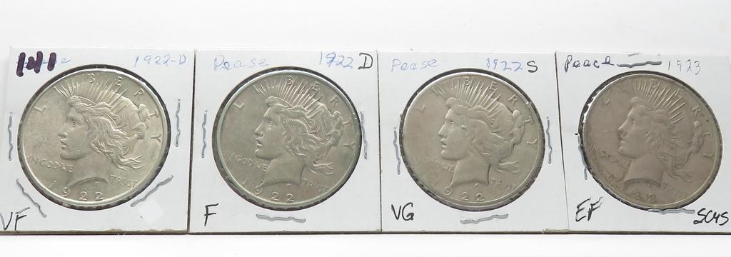 4 Peace $: 1922D VF, 22D F, 22S VG, 23 EF scrs