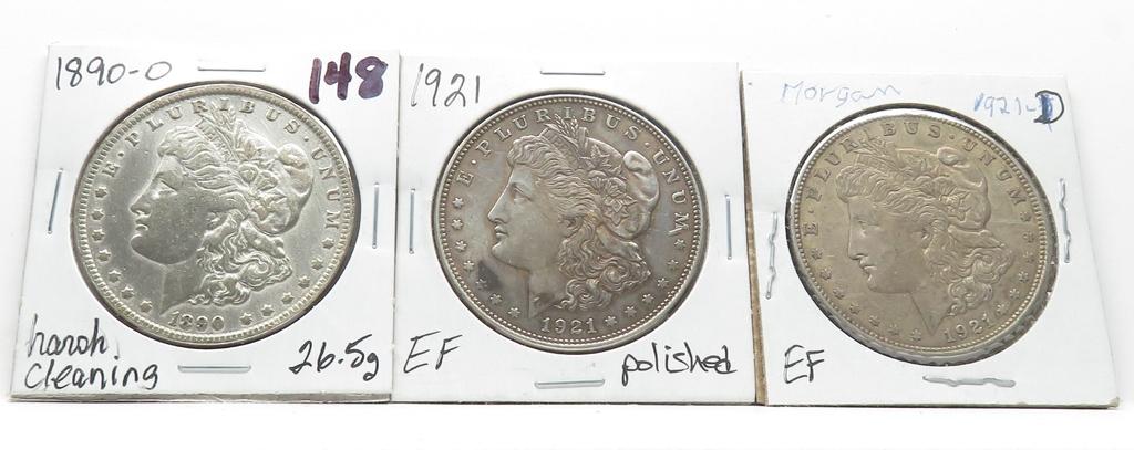 3 Morgan $: 1890-O harshly cleaned, 1921 EF polished, 1921D EF
