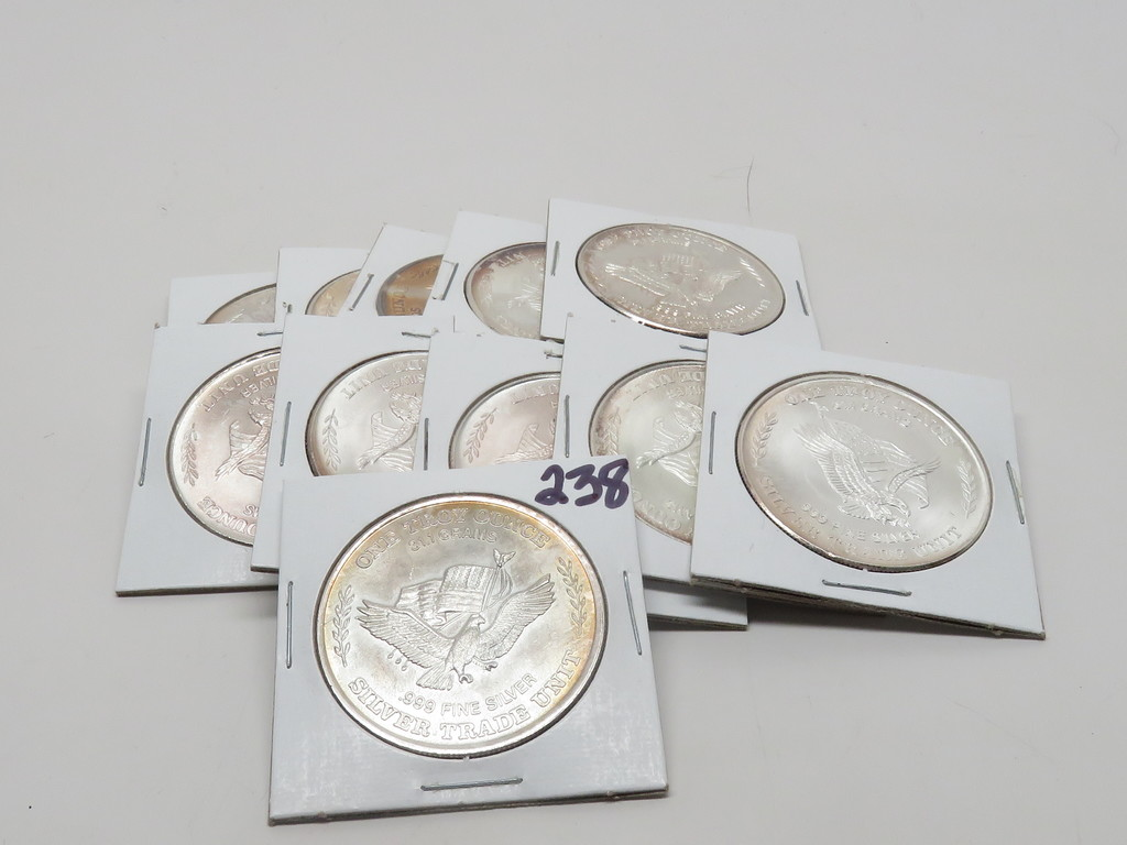 11-1 tr oz .999 Silver Rounds, US Assay Office 1981