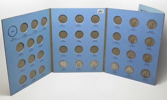 Standing Liberty Whitman Quarter Album, Total 12 Coins circ, 1926-1930S includes 1 no date