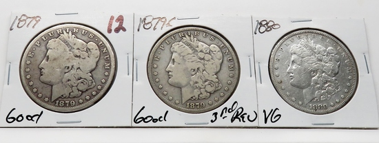 3 Morgan $: 1879 G, 1879S 3rd rev G, 1880 VG