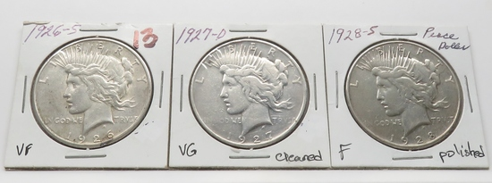 3 Peace $: 1926S VF, 1927D VG cleaned, 1928S F polished