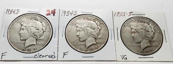 3 Peace $ better dates: 1934D F cleaned, 1934S F, 1935S VG