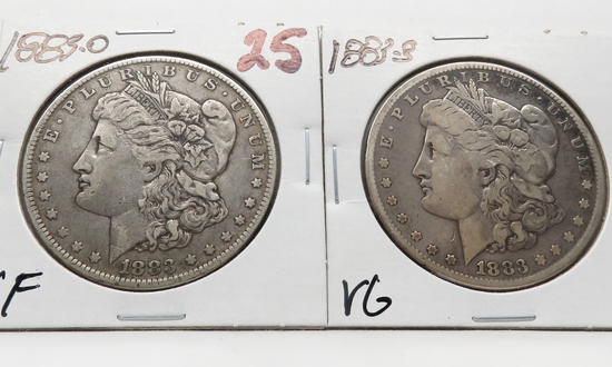 2 Morgan $: 1883-O VF, 1883S VG