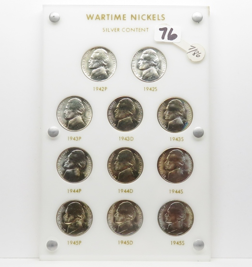 BU 11 Coin Wartime Silver Nickel Set in Capital Plastic, very nice, most beautiful toning