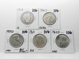 5 Silver Type Half $: Barber 1912 G, Walking Liberty 1944D CH AU, Franklin 1959D Unc ?bell dings, 2