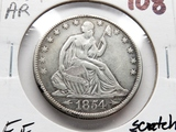 Seated Liberty Half $ 1854-O Arrows EF cleaned few scratches