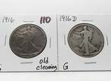 2 Walking Liberty Half $: 1916 G old cleaning, 1916D G