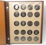 Dansco Kennedy Half $ Album, 20 Coins BU & PF, 2-1979S, 80PDS, 81PDS, 82S, 83PDS, 84PDS, 85PDS, 87PD