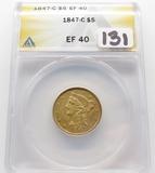 Gold $5 Liberty Head Half Eagle 1847-C ANACS EF40 better date, mintage 84,151