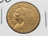 $2.50 Gold Indian Head Quarter Eagle 1910 AU