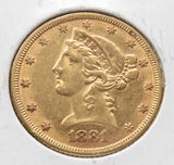 $5 Gold Liberty Head Half Eagle 1881 EF+
