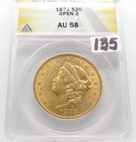 $20 Gold Liberty Head Double Eagle 1873 Open 3 ANACS AU58