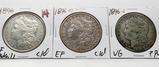 3 Morgan $ better dates: 1896 EF clea, 1896-O EF clea, 1896S VG ?PVC