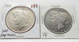 2 Peace $: 1922 Unc bag marks, 1922D VF
