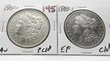 2 Morgan $: 1883-O AU ?clea, 1883S EF clea