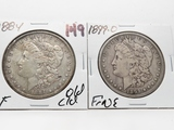 2 Morgan $: 1884 EF old cleaning, 1899-O Fine