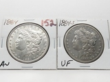 2 Morgan $: 1884 AU, 1884S VF