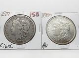 2 Morgan $: 1879 F, 1880 AU