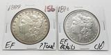 2 Morgan $: 1889 EF ?toned, 1890 EF cleaned