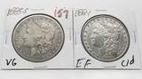 2 Morgan $: 1883S VG, 1884 EF cleaned