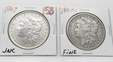 2 Morgan $: 1887 Unc, 1887S Fine