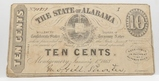 January 1863 State of Alabama Fractional Ten Cent, No.10939, EF