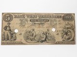1861 Memphis Bank of West TN $5 Obsolete Note, Criswell W-85, Punch Cancelled, Fine or better, blue