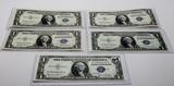 5-$1 Silver Certificates 1935 Unc-CH CU, 1 each series (D, E, F, G, H), Blue seal
