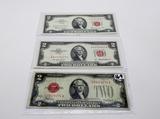3-$2 USN Red Seals: 1928D Fine, 1953A Unc, 1963 EF