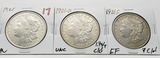 3 Morgan $: 1921 AU, 1921D Unc light clea, 1921S EF ?clea