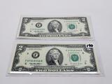 2-$2 FRN 1995 CH CU, SN F07918346B, F07918349B