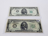 2-$5 FRN: 1934 KC Fine, 1950A KC STAR Fine