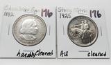 2 Commemorative Half $: Columbian Expo 1892 harshly clea, Stone Mountain 1925 AU clea