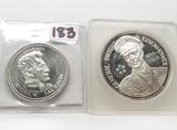2-.999 Silver Medals: Andrew Jackson 1/2oz, Eisenhower 1969 Medallic Art 1 oz in holder