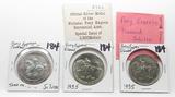 3 Silver Pony Express Tokens: 1960 Centennial, 2-1935 Diamond Jubilee