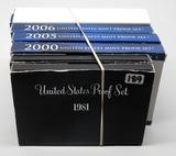 6 US Proof Sets: 1981, 1982, 2000, 2005, 2006, 2007