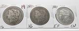 3 Morgan $: 1881 VG, 1882-O VG, 1883 EF cleaned