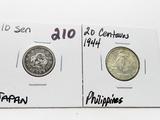 2 Silver World: Japan 10 Sen, Philippines 20 Centavos 1944