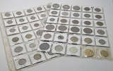 59 World Coins in vinyl pgs, some silver, mixed countries, 1878 & newer